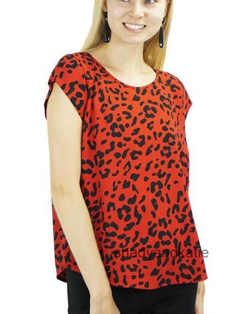 Renuar Renuar's Cheeta Top In Ruby
