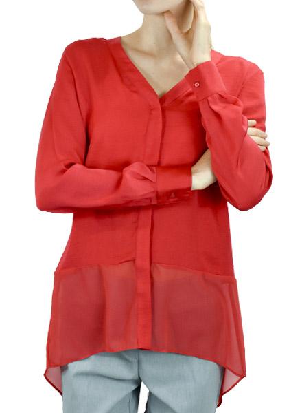 Renuar Renuar's Chiffon Hemline Blouse In Scarlet