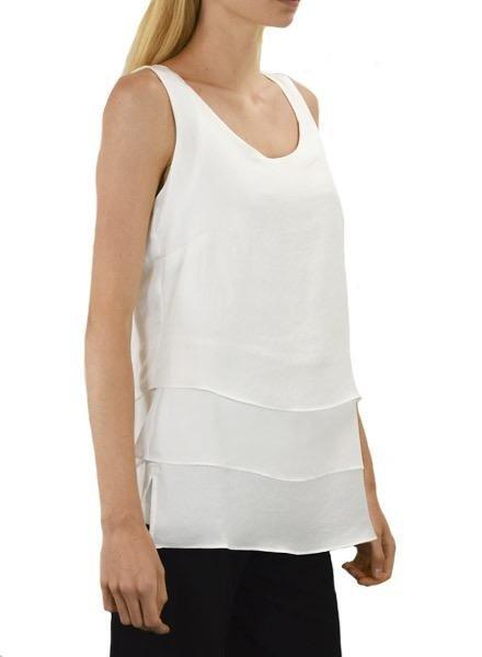 Renuar Renuar's 3-Tiered Sleeveless Top In White