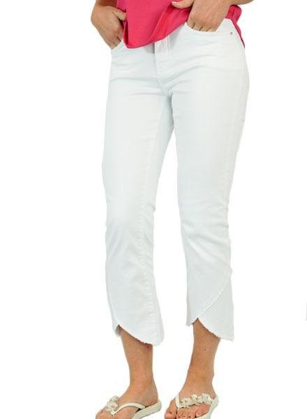 French Dressing French Dressing Tulip Flare Crop Jean In White