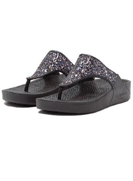 Ilse Jacobsen Cherry Sparkly Flip Flops In Black