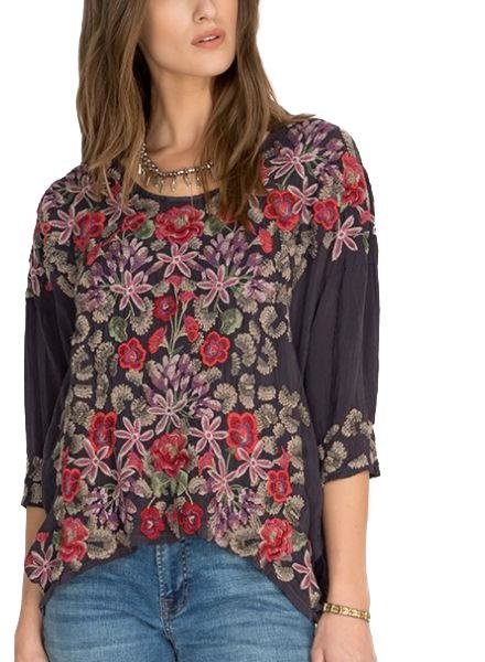 Johnny Was Johnny Was Leopard Rose Blouse In Grey Onyx