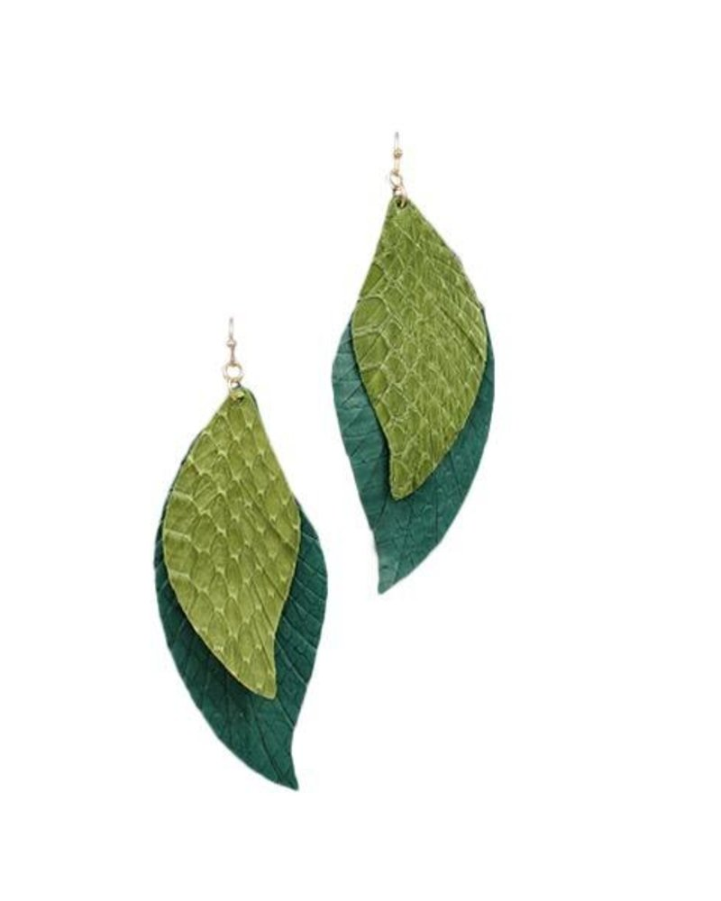 Layered Wavy Leather Feather Earrings In Green