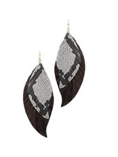 Layered Wavy Leather Feather Earrings In Black