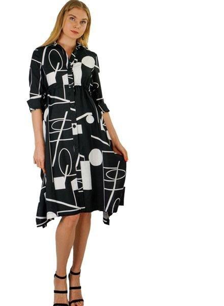 Terra Terra Side Tie 60's Dress In Black & White