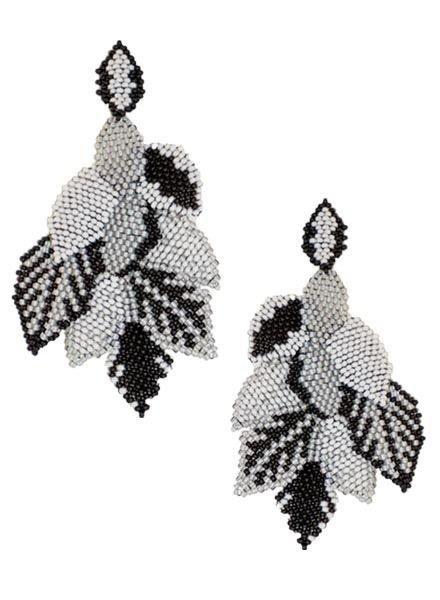 KVZ KVZ Handbeaded Leaf Earrings In Black & White
