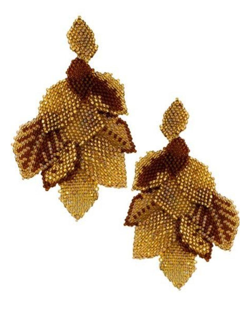 KVZ KVZ handbeaded Leaf Earrings In Gold