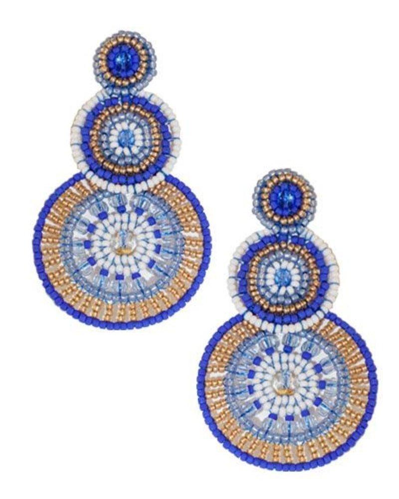 KVZ KVZ Handbeaded Triple Circle Earrings In Greek Holiday