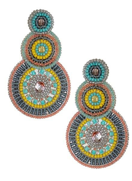 KVZ KVZ Handbeaded Triple Circle Earrings In Sunrise