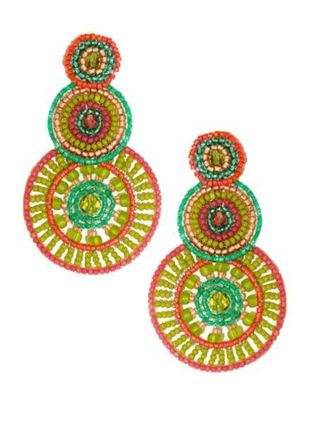 KVZ KVZ Handbeaded Triple Circle Earrings In Green & Pink