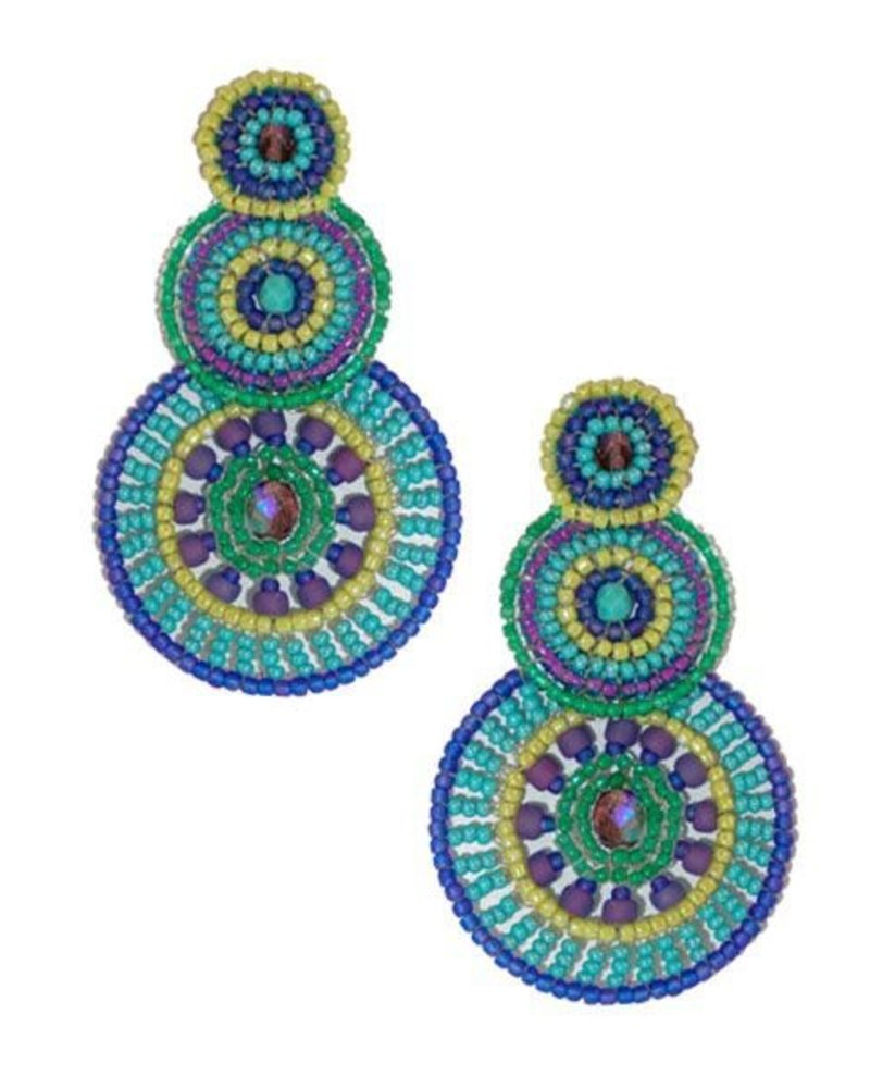 KVZ KVZ Handbeaded Triple Circle Earrings In Orchid
