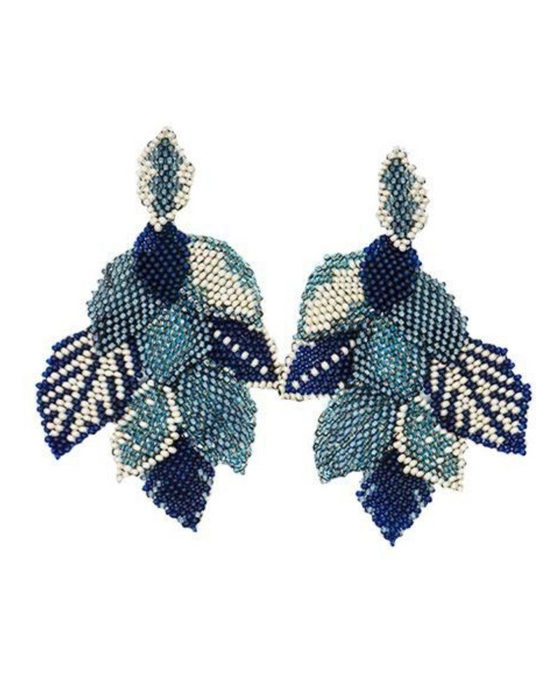 KVZ KVZ Handbeaded Leaf Earrings In Denim