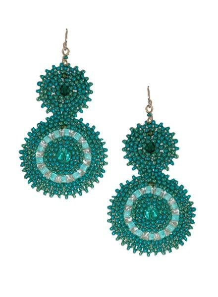 KVZ KVZ Handbeaded Double Earrings In Teal