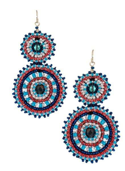 KVZ KVZ Handbeaded double Earrings In Americana