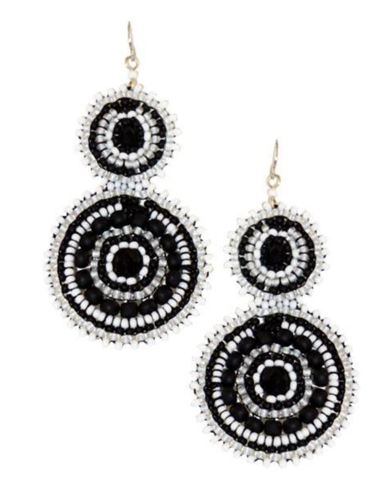 KVZ KVZ Handbeaded Double Earrings In Black & White