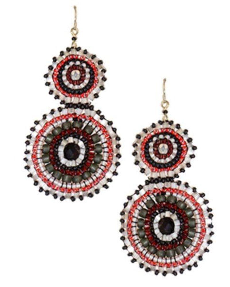 KVZ KVZ Handbeaded Double Earrings In Black, White & Red