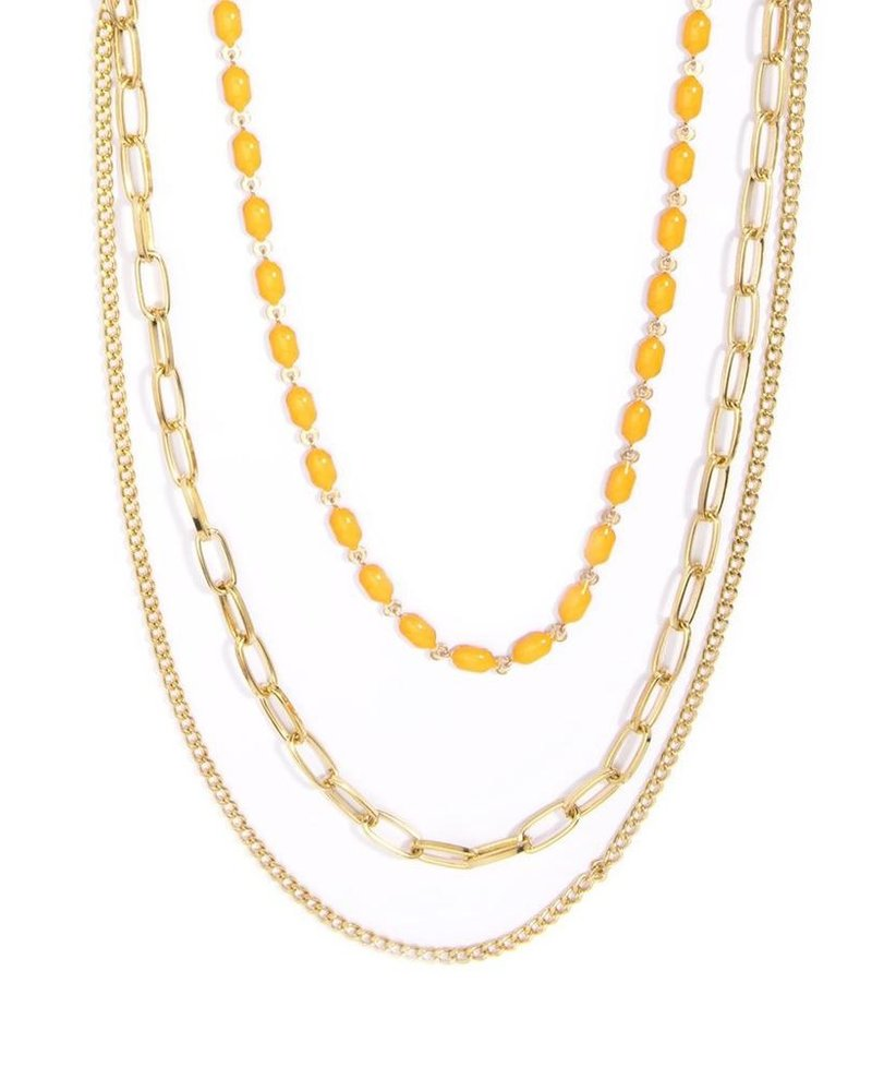 Delicate Triple Threat Necklace In Orange
