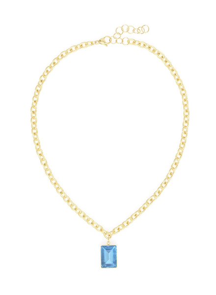 Rectangle Blue Gemstone Charm Necklace