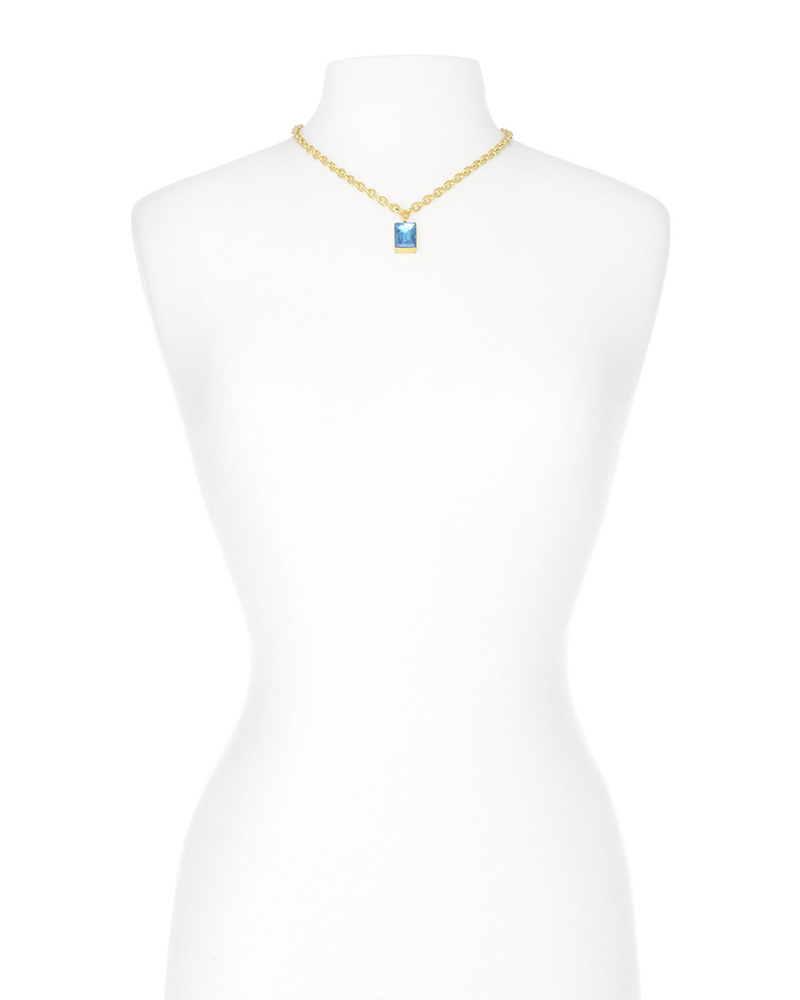 Rectangle Blue Gemstone Charm Necklace