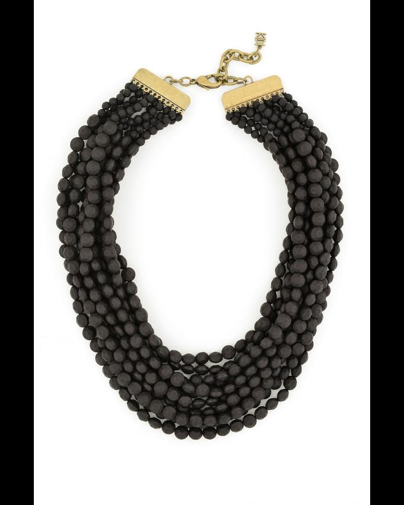 Multi Strand Matte Necklace In Black
