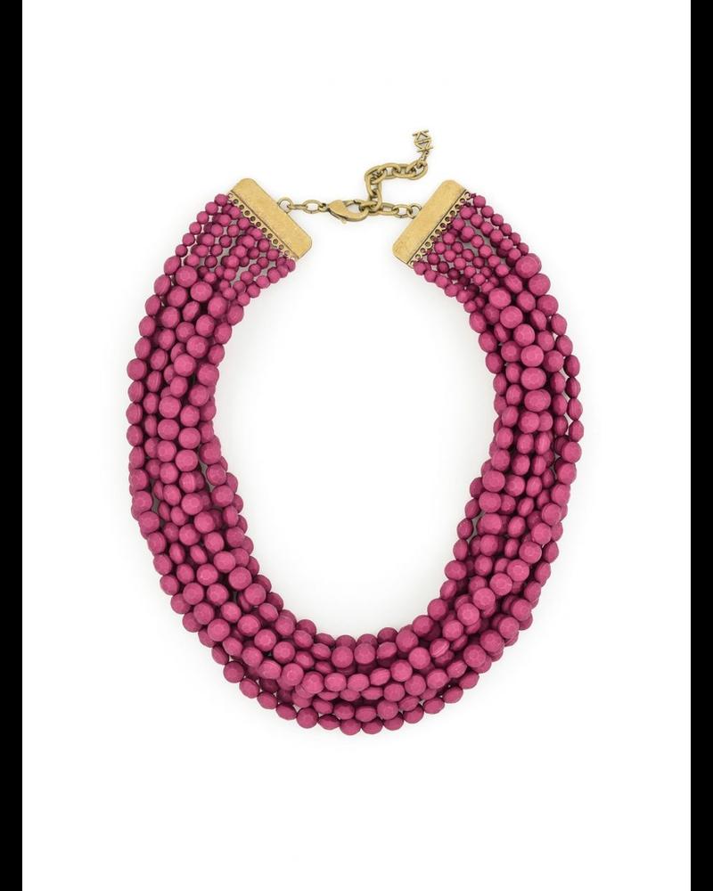 Multi Strand Matte Necklace In Plum