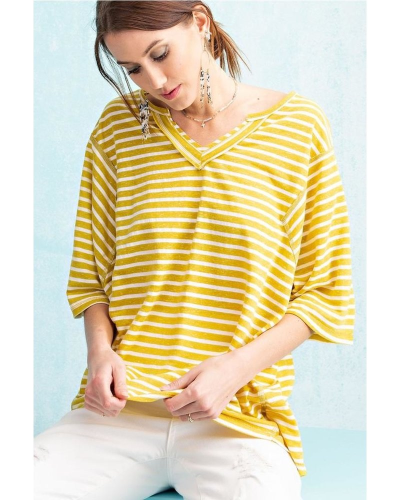 Mustard Striped Easy Tee