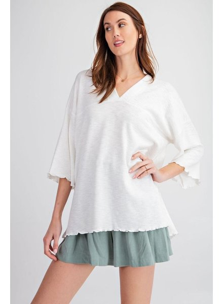 Ribbed And Lettuce Edged Tunic In White