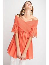 Eloise Off The Shoulder Tunic In Hot Coral