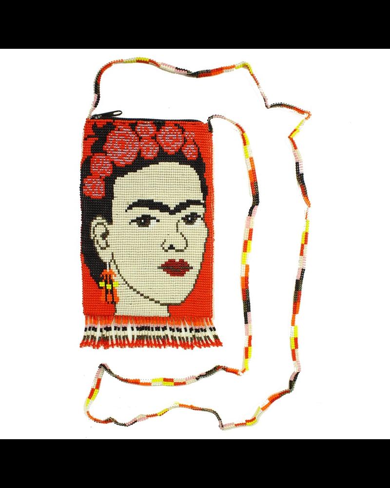 Hand Beaded Frida Kahlo Shoulder Bag In Red