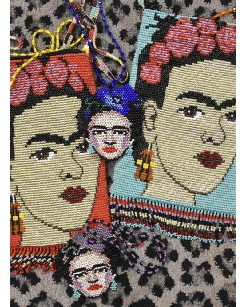 Hand Beaded Frida Kahlo Shoulder Bag In Turquoise