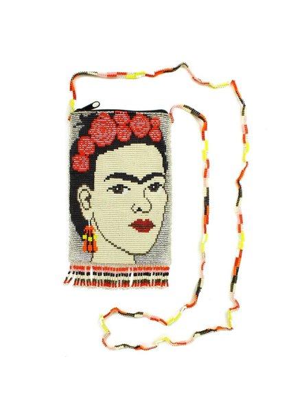 Hand Beaded Frida Kahlo Shoulder Bag In Silver