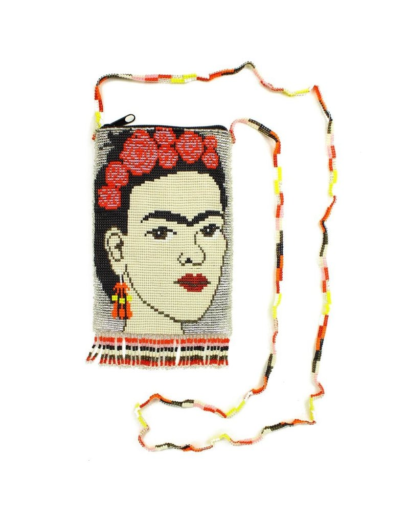 Hand Beaded Frida Kahlo Shoulder Bag In Silver
