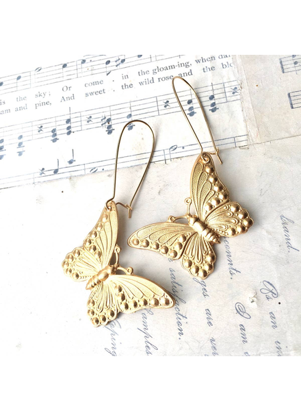 Big Gold Butterfly Earrings