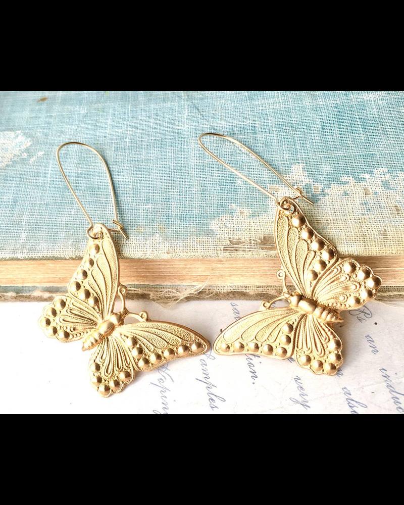Big Gold Butterfly Earrings