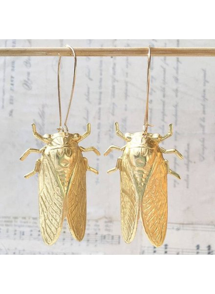 Gold Drop Cicada Earrings