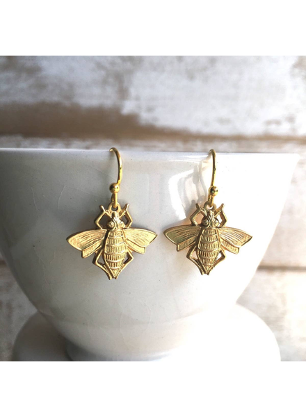 Gold Bee Bug Earrings