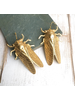 Gold Beetle Short Earrings