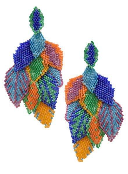KVZ KVZ Handbeaded Leaf Earrings In Confetti