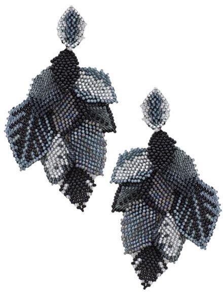 KVZ KVZ Handbeaded Leaf Earrings In Black Mix