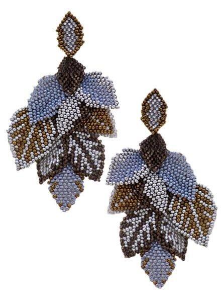 KVZ Handbeaded Leaf Earrings In Silver & Copper