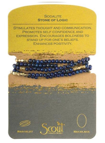 Wrap Bracelet Or Necklace In Sodalite & Gold