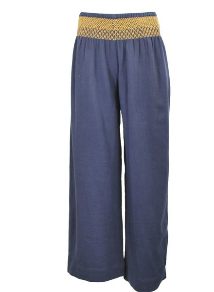 Ivy Jane's Wide Leg Smocked Waist Pant In Denim