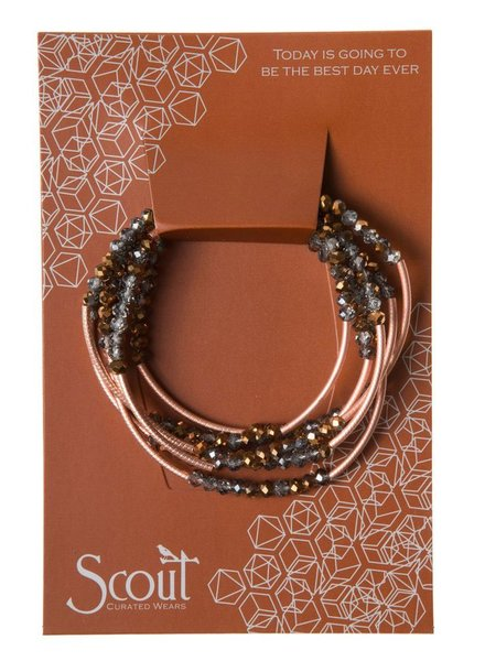 Scout Wrap Bracelet Or Necklace In Bronze Smoke & Rose Gold