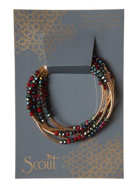 Scout Wrap Bracelet Or Necklace In Garnet & Gold