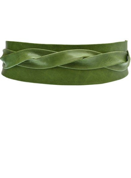 Ada's Wrap Belt In Military Green Leather