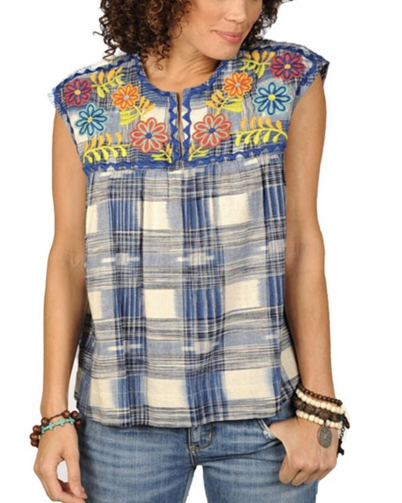 Uncle Frank's Embroidered Plaid Baby Doll Top