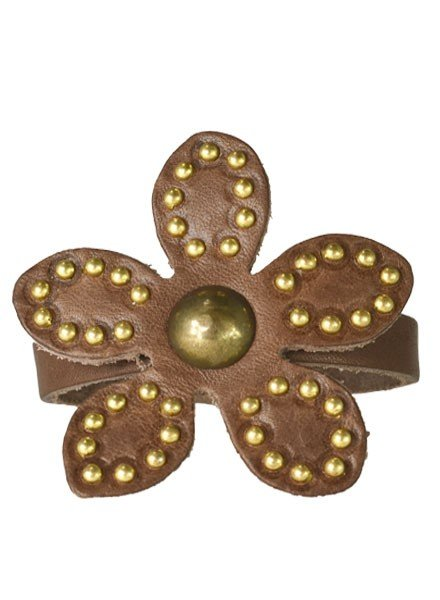 Streets Ahead Chocolate Leather Studded Flower Bracelet