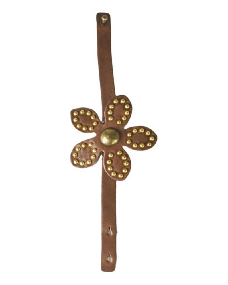 Streets Ahead Chocolate Leather Studded Flower Bracelet