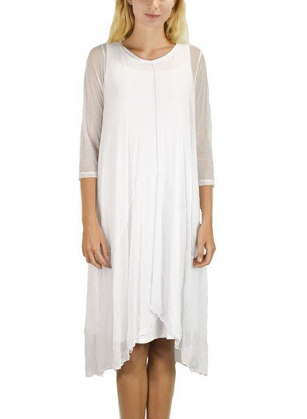 Comfy's Ester Tunic Dress In White Robin Mesh
