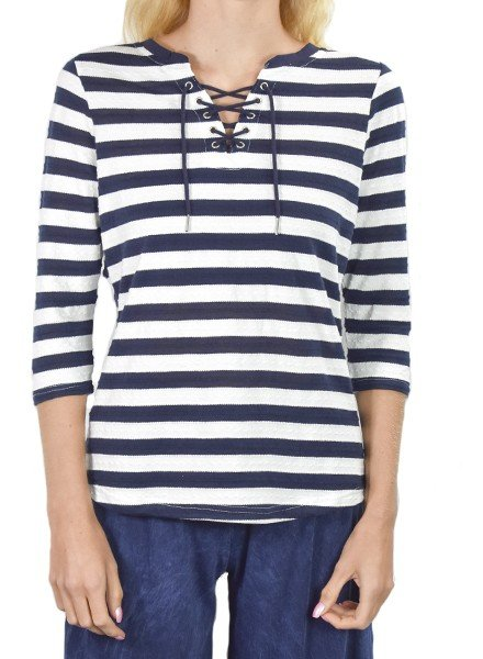 French Dressing Sassy Sailor Top With Navy Stripes